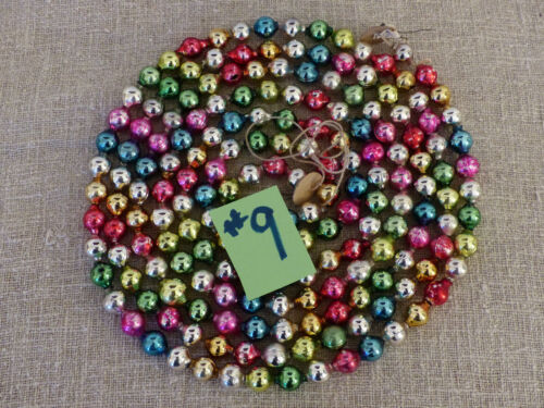 "ANTIQUE Vintage BEAD GARLAND Mercury Glass MULTICOLOR LG Bead SIZE 1/2"" 90"" #9"
