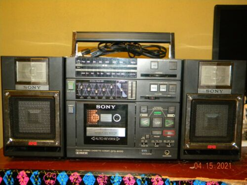 Vintage Sony CFS-9000 3-Piece Boombox with Auto-Reverse Cassette, APM Speakers