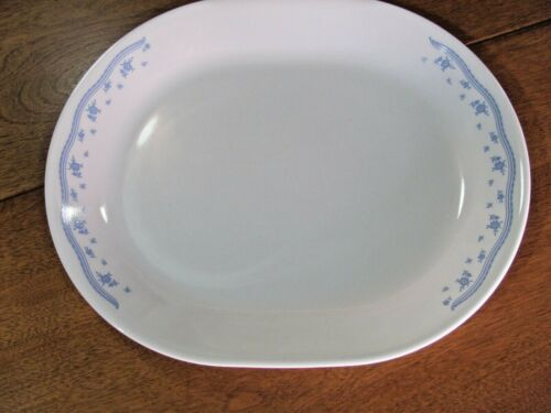 "VINTAGE CORELLE Morning Blue 12.25"" x 10"" Meat Platter Retired EUC"