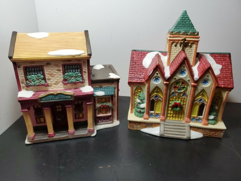 Grandeur Noel Illuminated Porcelain House Set Doctor's Office & Church Buildings