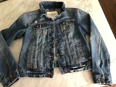 Abercrombie and Fitch Size Small Women's Button Up Distressed Denim Jean Jacket