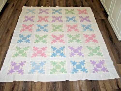 "Vintage Pastel Hand Pieced Quilt Top 79"" x 64"""