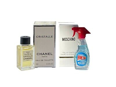 Women Miniature Mini Perfume Gift x2 CHANEL Cristalle 4ml EDT Moschino Fresh...