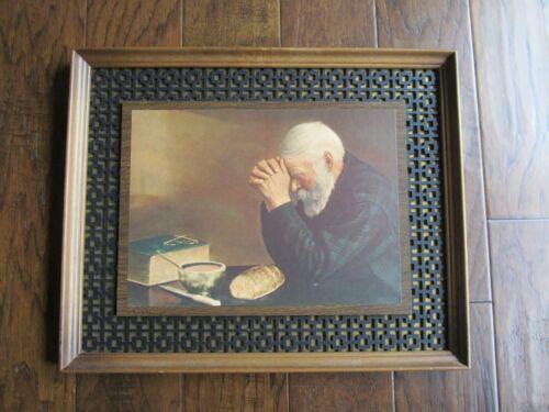 "Vintage ""GRACE"" Framed Enstrom Wall Decor Praying Man Decoupage Picture/Print"