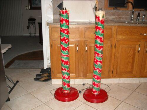 """2 Vintage Christmas  Electric Metal Tin Litho Candles 42"""" Tall"""