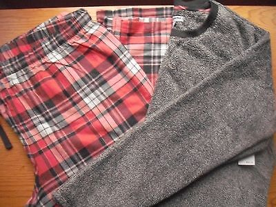 Womens NWT Fleece-Flannel Pajama Lounge 2pc SET Char Fleck Coral Plaid XXL SHORT