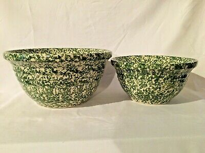 "Workshops of Gerald Henn ROSEVILLE SPONGEWARE Green 8"" & 10"" Mixing Bowls"