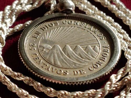 "1956 Republica De Nicaragua 25 Centavos Pendant on an 18"" 925 Italian Rope Chain"