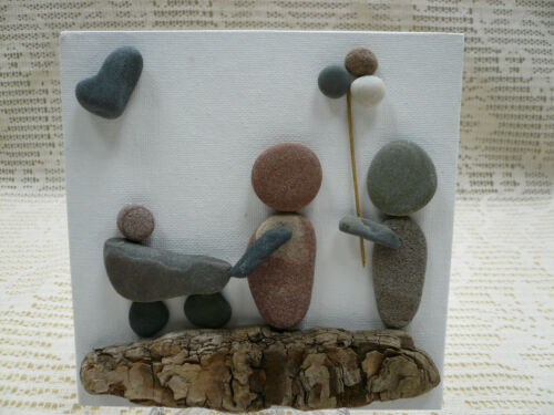 """Pebble Art Handmade Picture New Baby Child Parents Family Keepsake 6""""x6"""" w/Stand"""