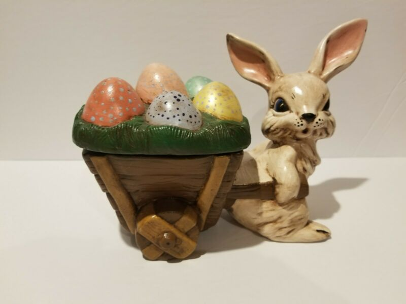 Vintage Ceramic Hobbyist Painted Easter Bunny Rabbit Pulling Cart Of Eggs