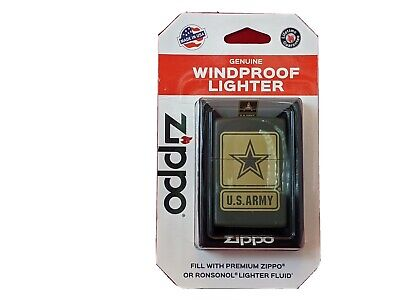 Zippo Windproof Green Matte Lighter With U.S. Army Logo, New In Box