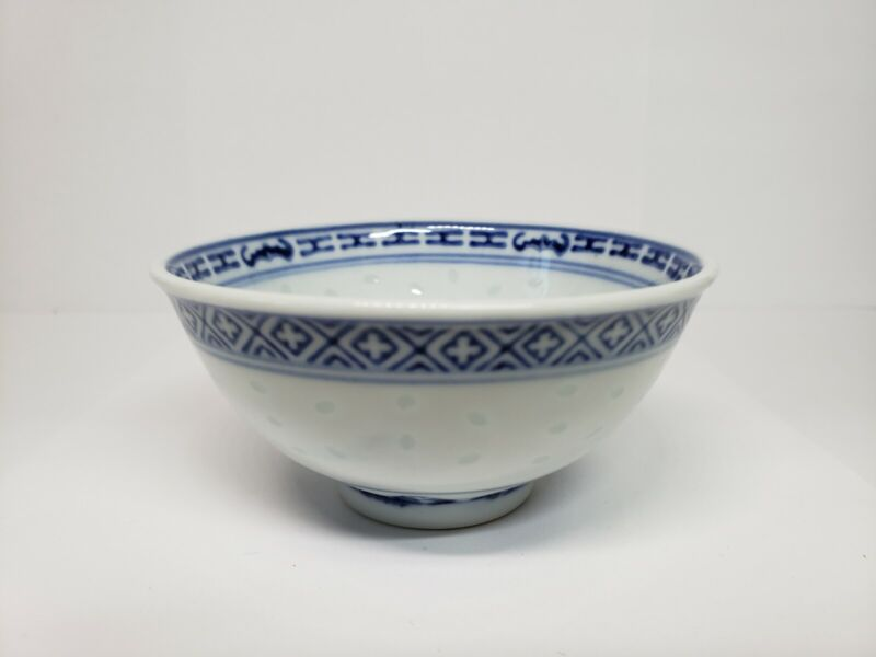 6PCS Vintage Chinese  Porcelain Bowl with  Blue/White Flower Rice Grain Pattern