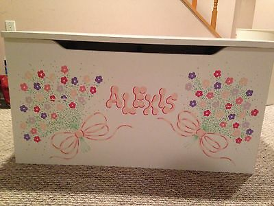 White Wood Toy Chest with Hand Painted Details Hand Painted Toy Chest