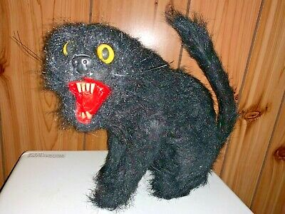 RARE VINTAGE 1960's SCARY BLACK CAT DOLL FIGURE LIFE SIZED HALLOWEEN TOY DECOR
