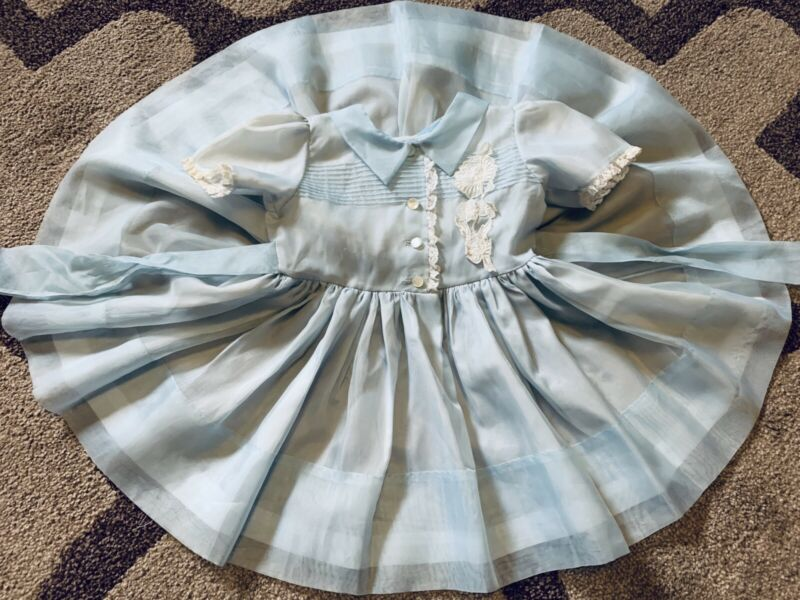 Vintage girls blue sheer dress