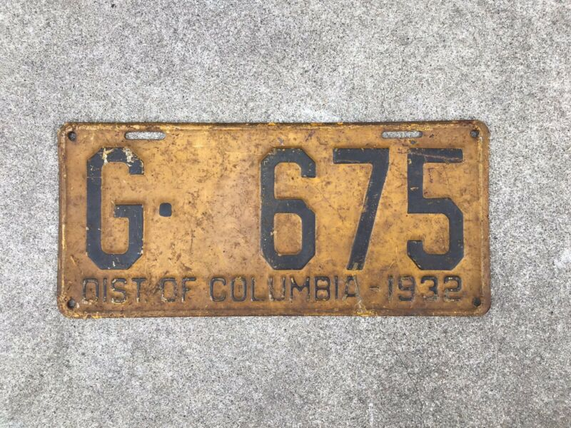 1932 - DISTRICT OF COLUMBIA - LICENSE PLATE - WASHINGTON D.C.