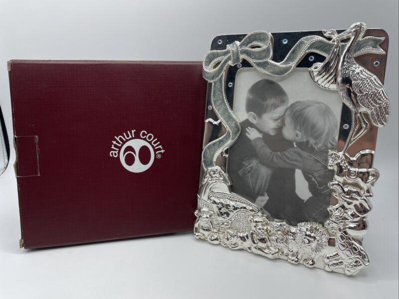 "Arthur Court Photo Silver Tone Stork Nursery Animals Design 4""x 6"" Frame NIB"