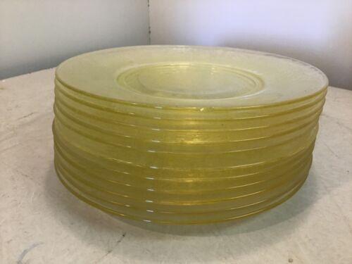 Vintage Hazel Atlas Yellow Depression Glass Plates with a Florentine Pattern