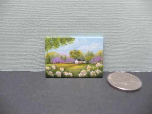 Pretty 1:12 Scale Miniature Framed Karry Johnson Cottage in Springtime Artwork