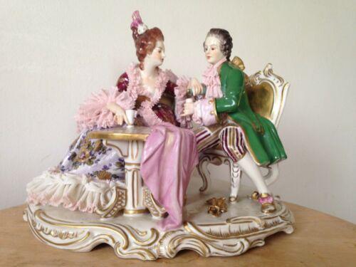 Antique Dresden Volkstedt Lace, Porcelain Group Figurine