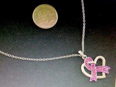 Heart Charm Necklace Pink Crystal Ribbon Breast Cancer Support Awareness Silver  ()