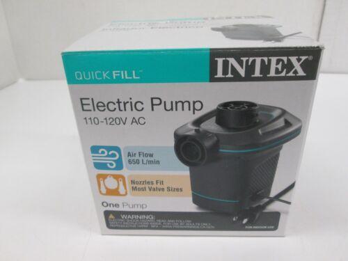 INTEX QUICK FILL ELECTRIC PUMP W/ 3 ASSORTED NOZZLES INFLATES/DEFLATES - AK 1563