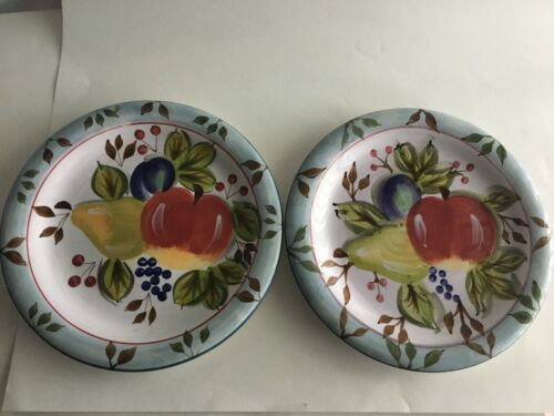 """2 HERITAGE MINT BLACK FOREST FRUITS  DINNERWARE 10"""" DINNER PLATES DISCONTINUED"""