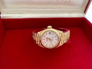 ROLEX LADIES 26MM DATEJUST PRESIDENT WATCH, 18K W/BOX PAPERS