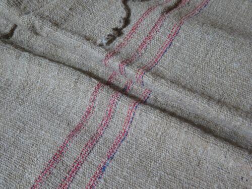 Antique European Feed Sack GRAIN SACK Red & Blue Stripe # 10023