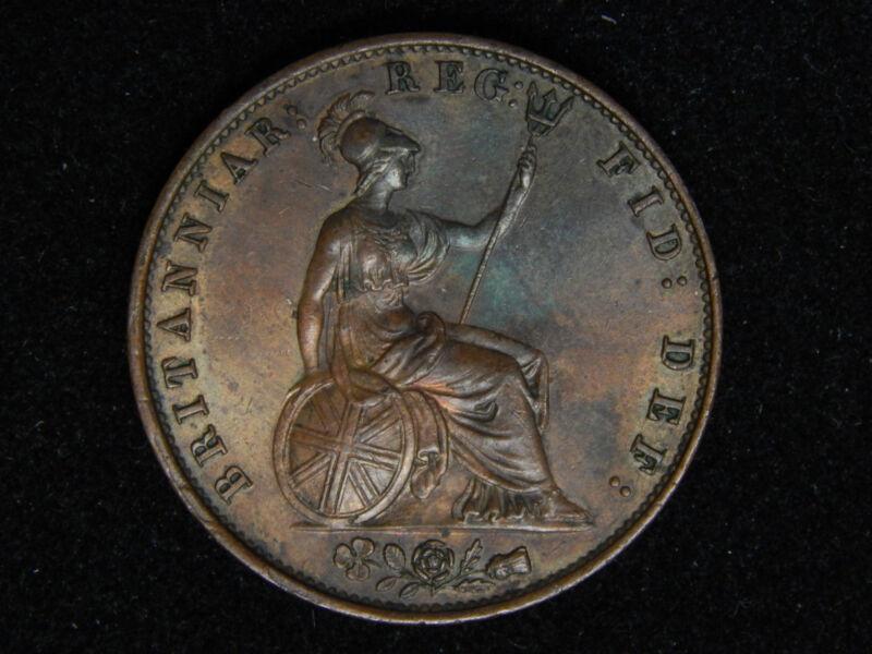 1856 Great Britain 1/2 Penny - Double Die Obverse Error AU/UNC