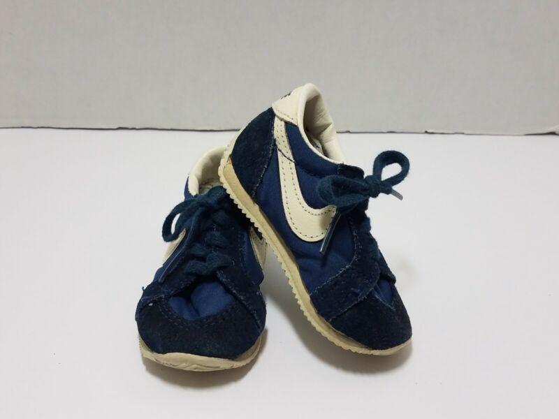 VTG 80s Nike Toddler Size 3.5 Shoes Retro Cortez 70s Canvas Suede Blue White