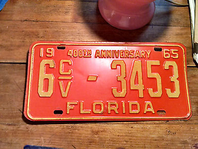 1965 FLORIDA ( SUNSHINE STATE ) LICENSE PLATE* 400th ANNIVERSARY *A REAL BEAUTY