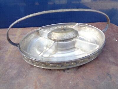 Usado, Antiguo bandeja plato servicio de aperitivos vaso Arte deco 1950 plateado segunda mano  Embacar hacia Argentina