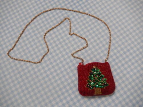 NEW COLORFUL BEADED CHRISTMAS TREE SHOULDER PURSE