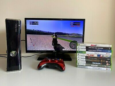 Xbox 360 S Console 250GB HDD & 10 x Games Bundle 1 x Wireless Controller TESTED