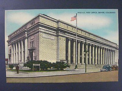 Denver Colorado Post Office Building Cars Vintage Color Linen Postcard 1930S 40S