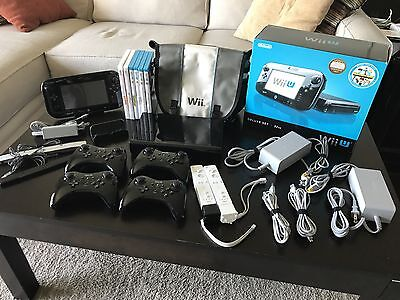 Nintendo Wii U Deluxe 32GB - 6 games - 4 Pro Controllers - 2 Wiimotes & more