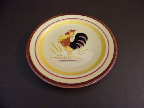 Vintage Pottery Wall Hanging Plate Rooster Pattern (Imperfect)