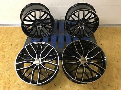 "20"" Staggered Bmw 3 5 Series F10 / 7 Series F01 BLACK Polished Alloy Wheels"