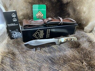 Puma 116009 Stag 240 White Hunter Carbon Steel Knife Leather Sheath Mint Box A1