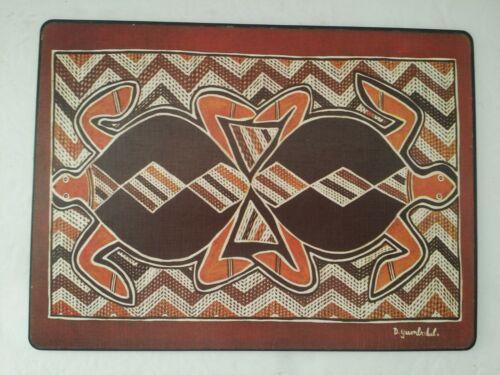 RARE TERRY DHURRITJINI YUMBULUL AUSTRALIA ABORIGINAL ART  TURTLES TIKI BAR MAT
