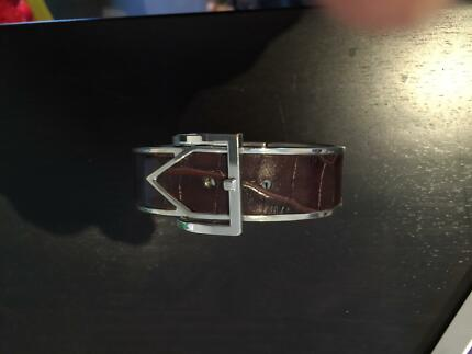 Leather and silver bracelet cuff Ivanhoe Banyule Area Preview