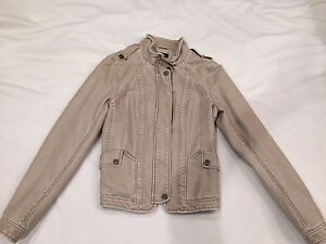 Beige faux leather jacket size small