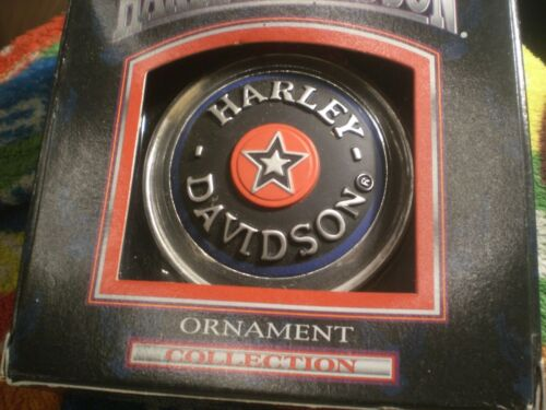 HARLEY DAVIDSON FATBOY BLUE RED STAR VINTAGE 1999 CAVANAGH CHRISTMAS ORNAMENT