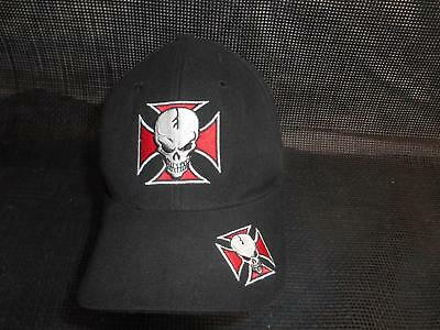 Old Gangster Hats (Old Vtg SKULL & IRON CROSS MEN'S HAT Baseball CAP Gangster DCI)