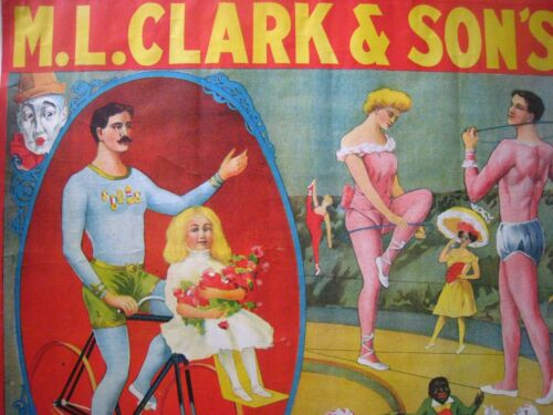 ORIGINAL EARLY 1900S CIRCUS POSTER VINTAGE ANTIQUE..