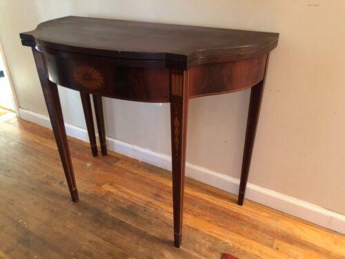18th Century Newport? Hepplewhite 5 legs mahogany card games table bookend inlay