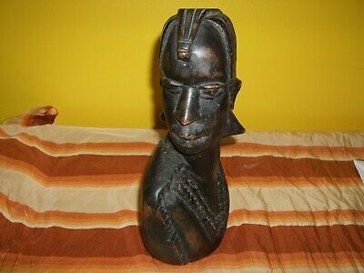 ANTIQUE AFRICAN WOODEN HAND CARVED WARRIOR WOODEN BUST