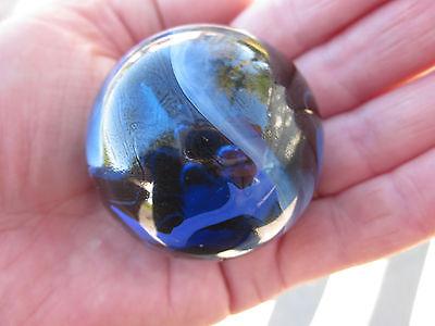 "TOE BREAKER 50mm (2"") BLUE JAY clear Blue/white Marbles glass ball HUGE Swirl"