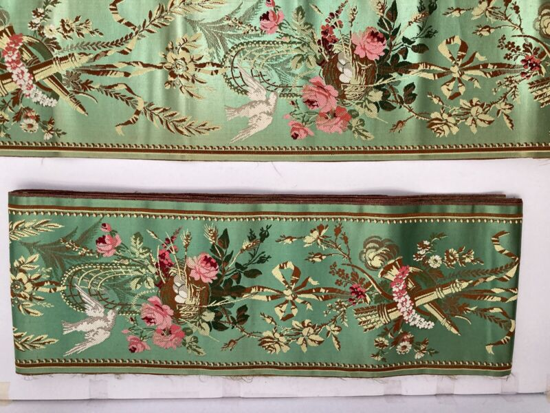 AMAZING 12 Plus Yards Antique  19c Silk Embroidered Fabric FRENCH FRANCE
